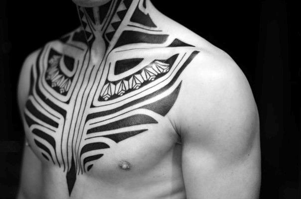 Black ink tribal tattoos for mens chest