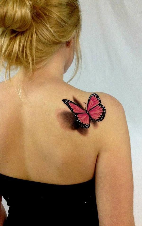 Butterfly 3D tattoos on girl