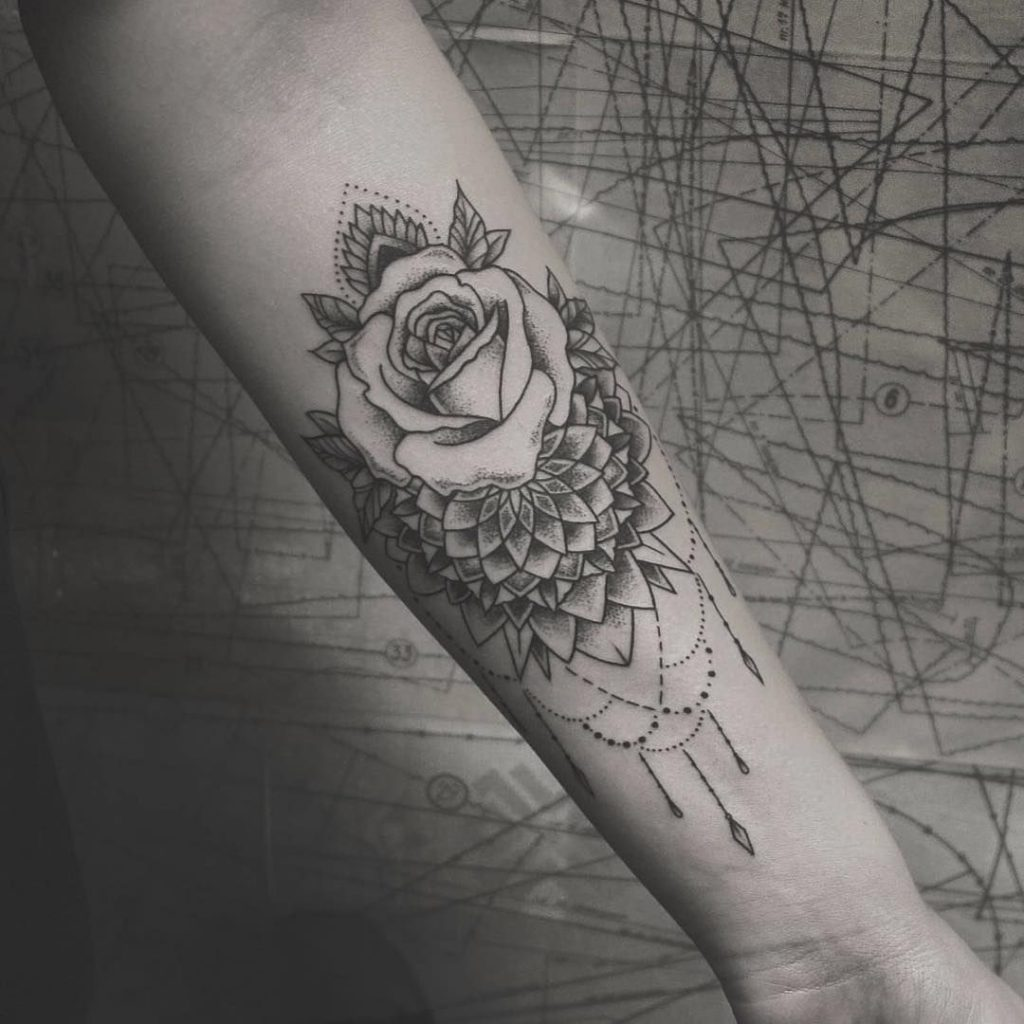 Mandala rose tattoo