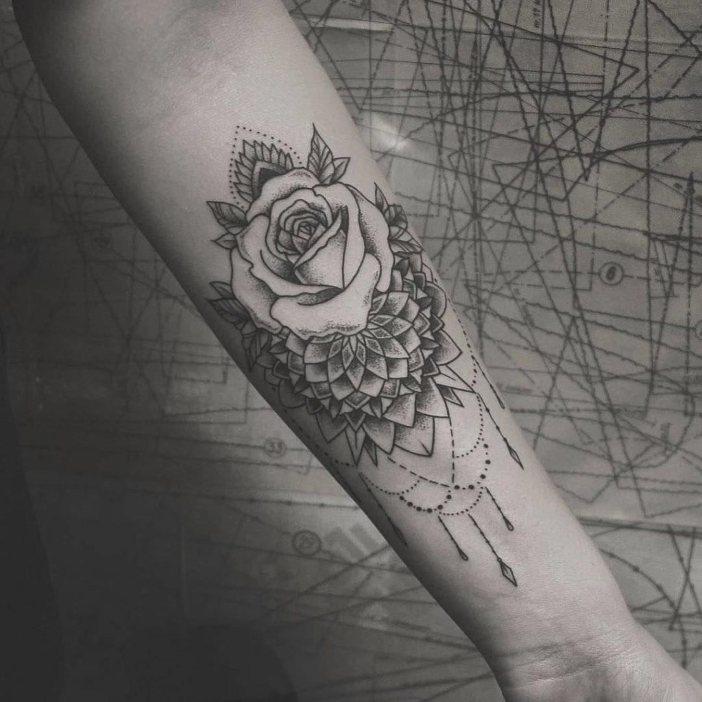 Mandala rose tattoo
