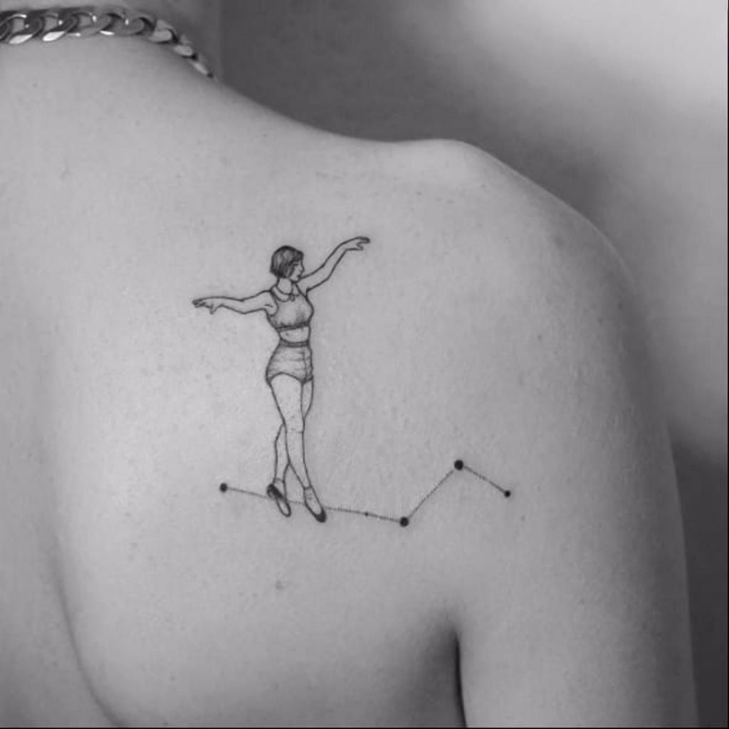 Minimalist Constellation blackwork back tattoo