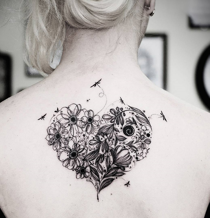 flower heart back tattoo