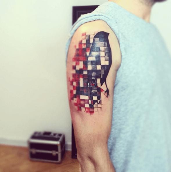 Pixelated Tattoos on Upper Arm