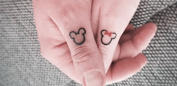 Mickey & Minnie Tattoo on Thumb