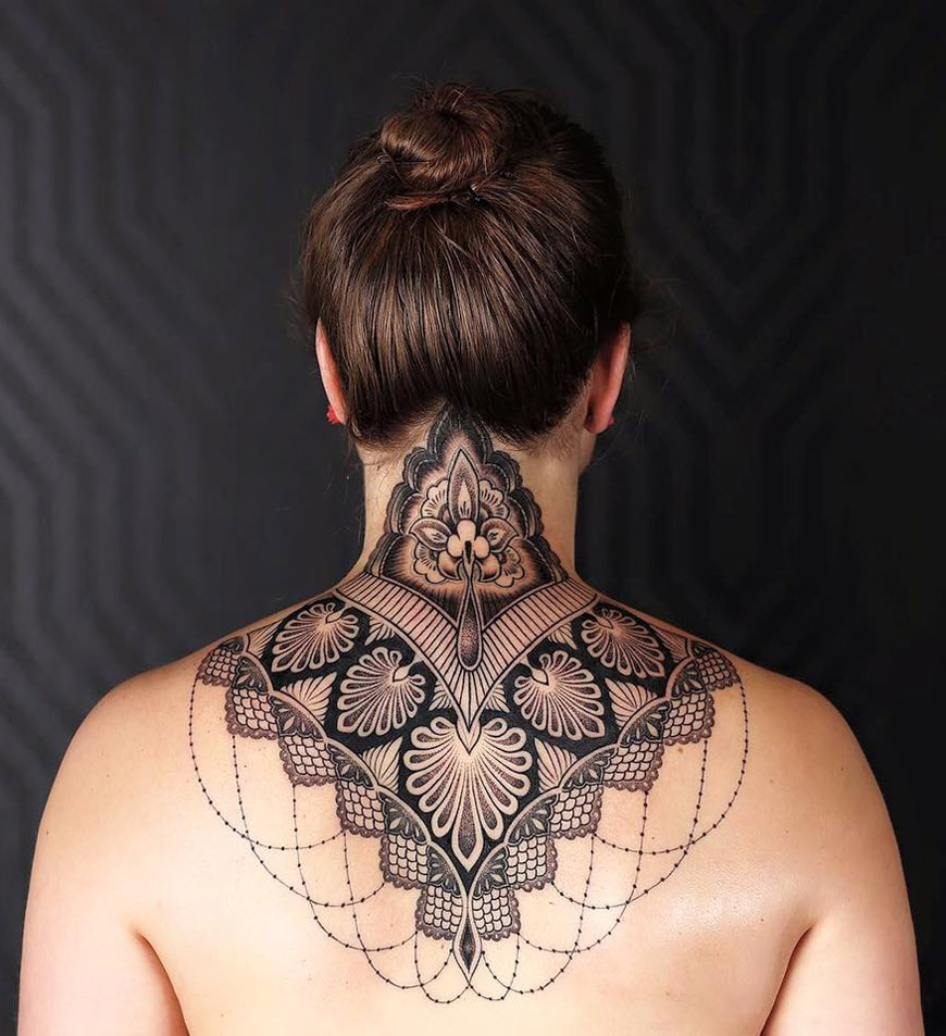 Ornamental Neck Tattoo