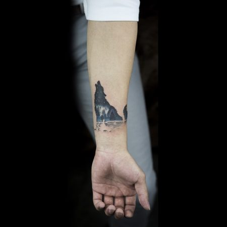Howling Wolf Tattoo On The Inner Wrist