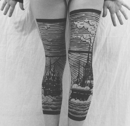 Ship & Castle Double Leg Tattoo