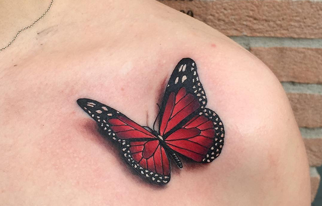 collerbone butterfly tattoo