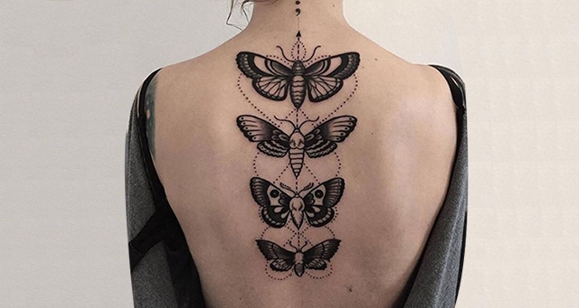 butterflies spine tattoo