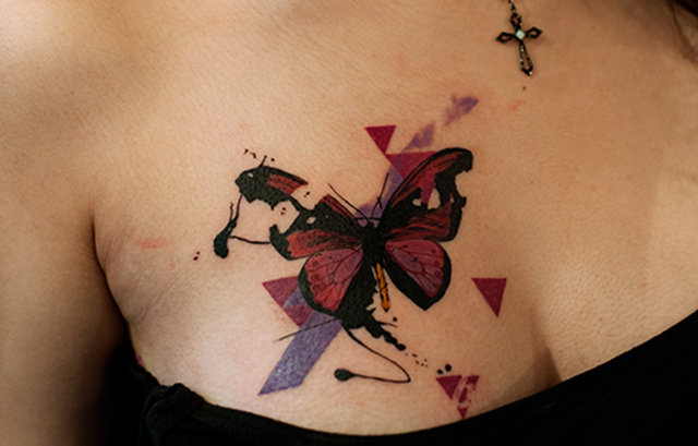 Butterfly eating tattoo