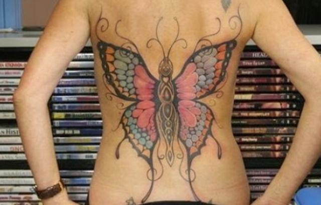 Hot back butterflies tattoo images