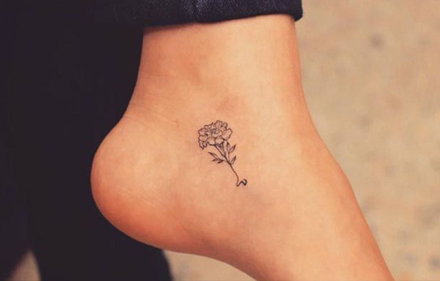 Tiny Floral Tattoo on ankle