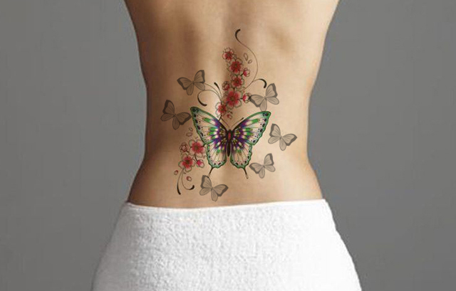 butterfly tattoo on women's back