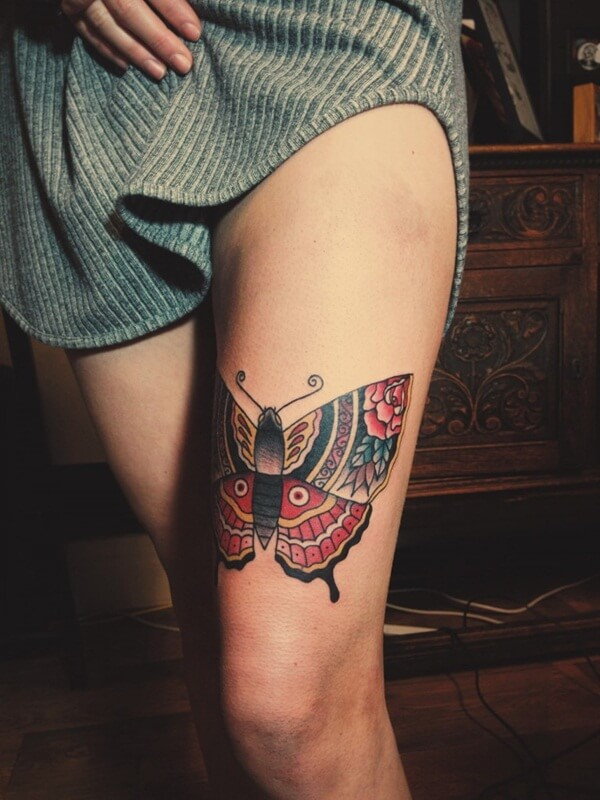 butterflies tattoo on leg