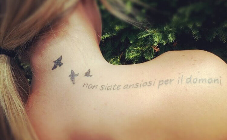 Quotes and Little Birds tattoo