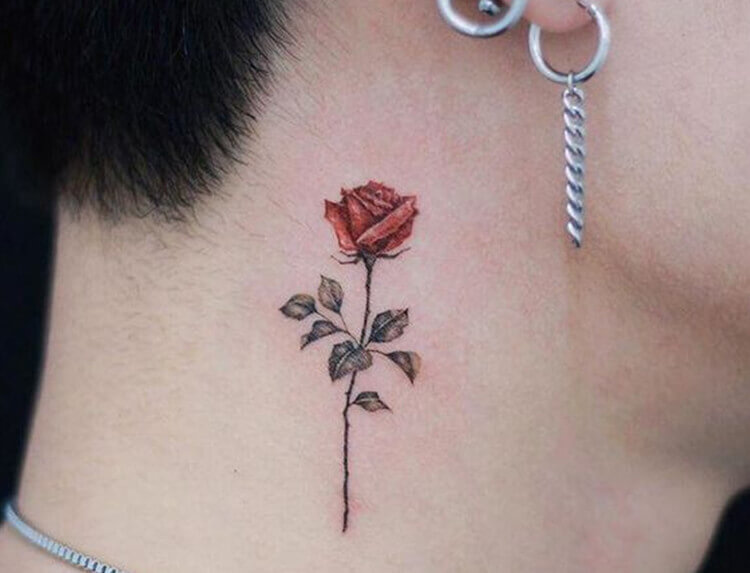 Red Rose with Leave on Nape