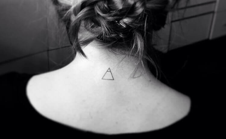 Tiny Triangle tattoo on Neck