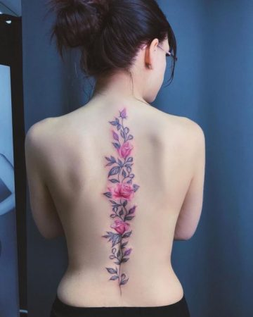 flower spine tattoo