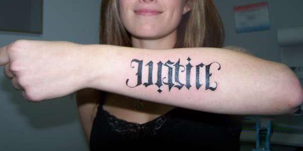 Justice ambigram tattoo