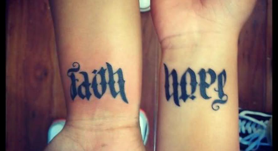 Ambigram Tattoo Designs on Wrist