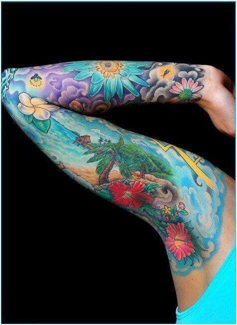 colorful Nature scene tattoos