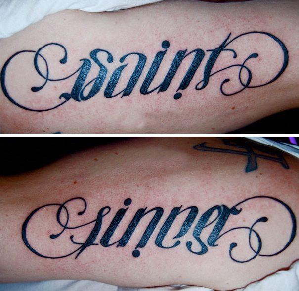 Saint Sinner Ambigram Tattoo