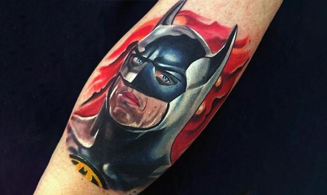 Batman face tattoo