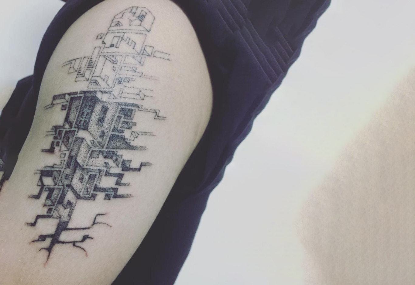 Brutalist Architecture Style Tattoo