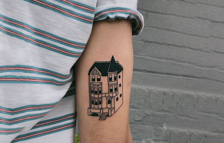 Cape Cod Architecture Style Tattoo