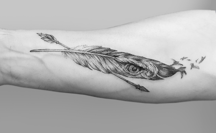 Eagle feather tattoo ideas on wrist