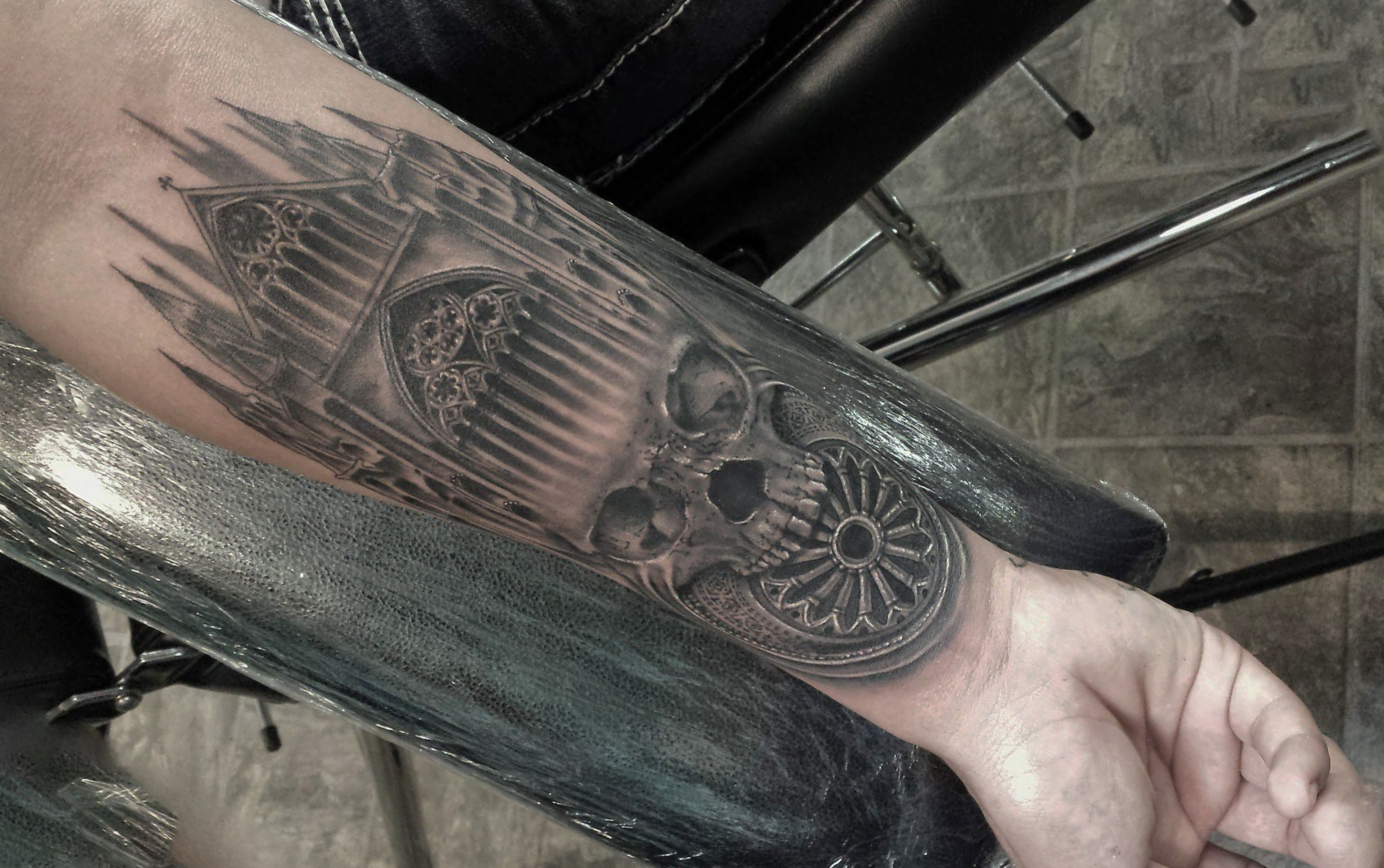 Gothic architecture style tattoo