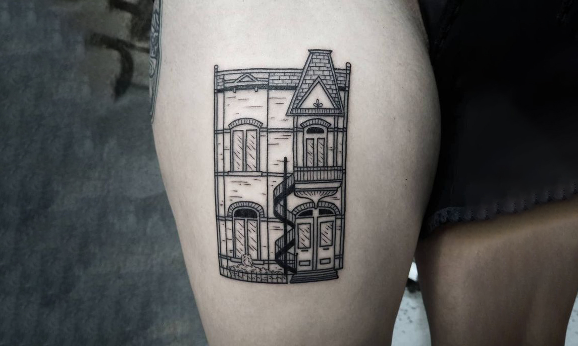 Mid-Century Modern Architecture Style Tattoo