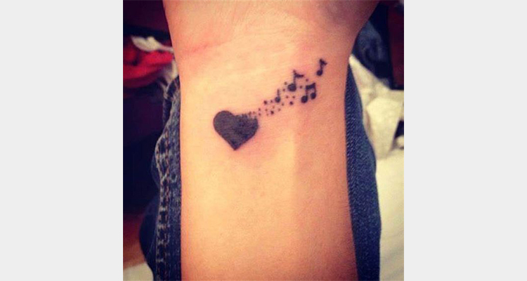 Musical Heart Tattoo Designs on wrist