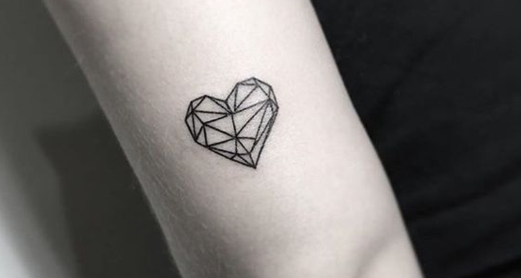 Origami Heart Tattoo on Arm