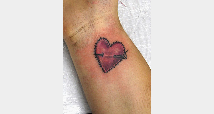 Stitched Heart Tattoo on Wrist