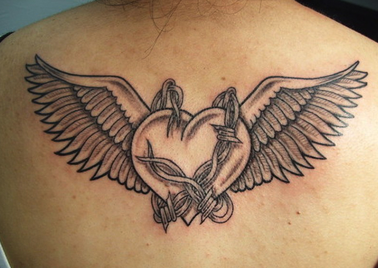Winged Heart Tattoos on back
