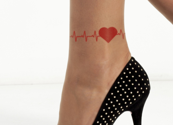 heartbeat symbol tattoo on ankle