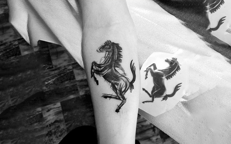 horse rearing up tattoo