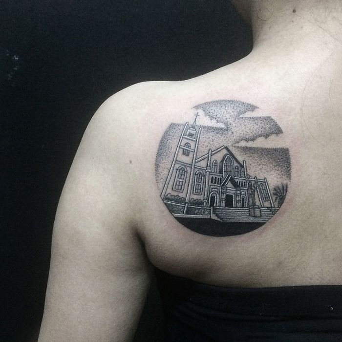 Tudor architecture tattoo