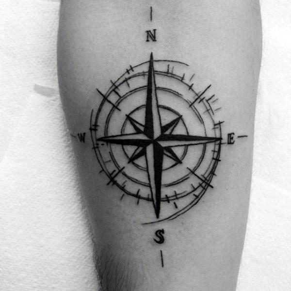 Black ink compass tato
