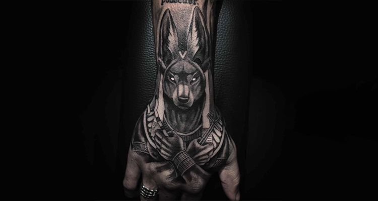 Anubis – The Egyptian God of the dead hand tattoo
