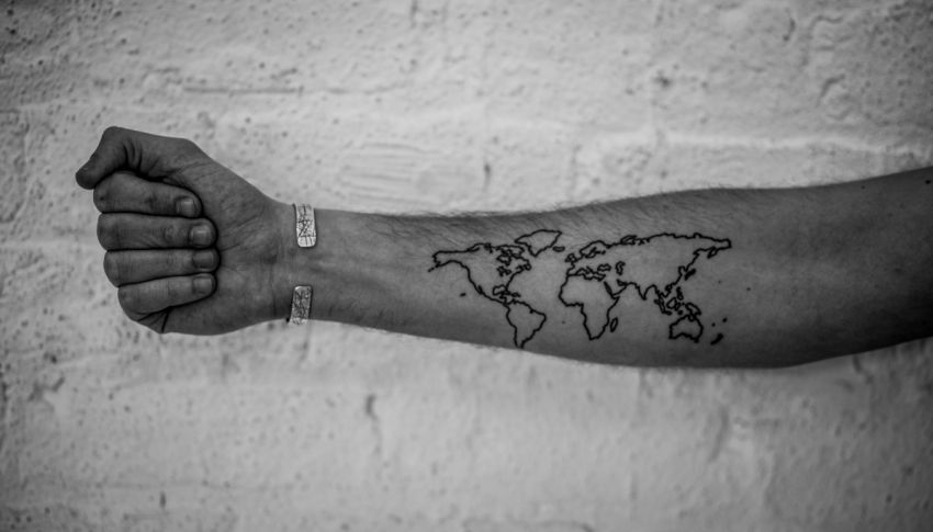 Outline World map tattoo