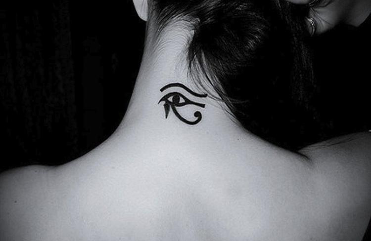 Eye of Ra Egyptian tattoo on nape