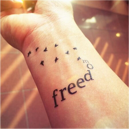 "Small ""FREEDOM"" With Birds Tattoo Design"