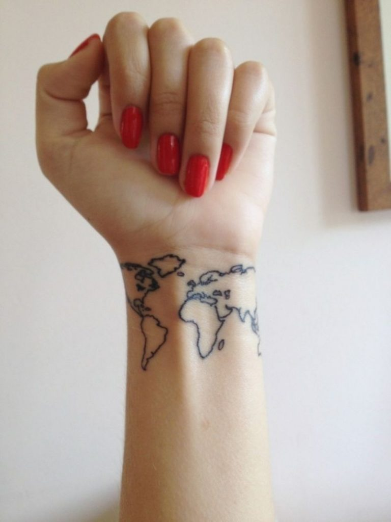 World Map Tattoo Designs on Wrist