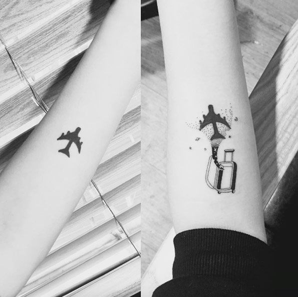 Travel luggage tattoo