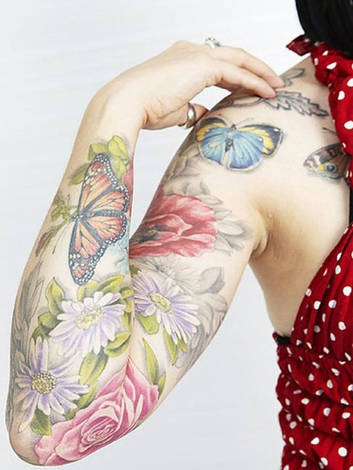 Butterfly Sleeve Tattoo designs for Women