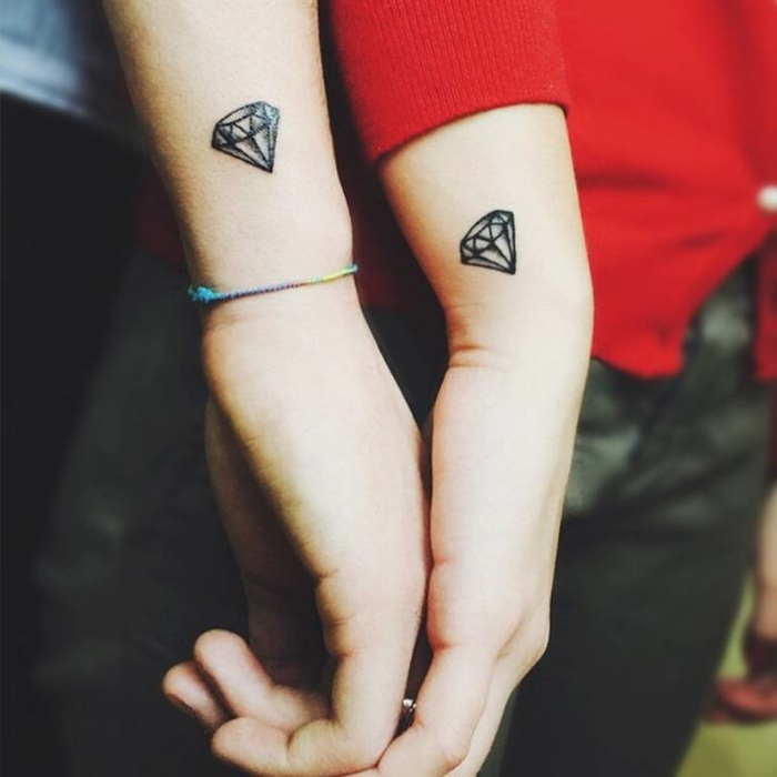 Diamond Matching Tattoo for Couples
