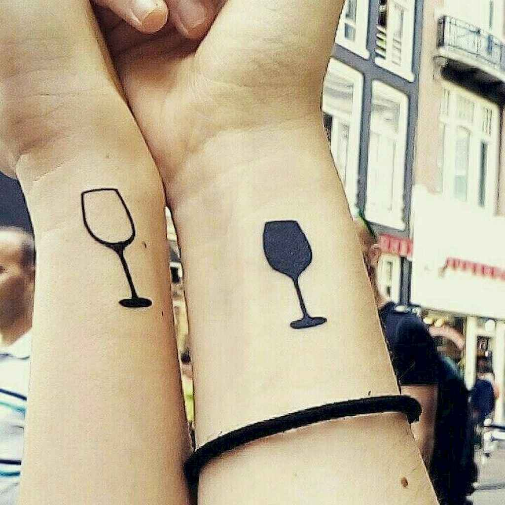Matching Wine Glass Tattoo ideas on wrist