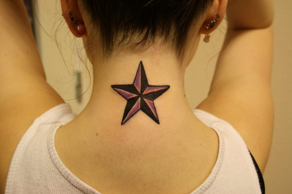 Nautical Star Tattoo Designs on nape